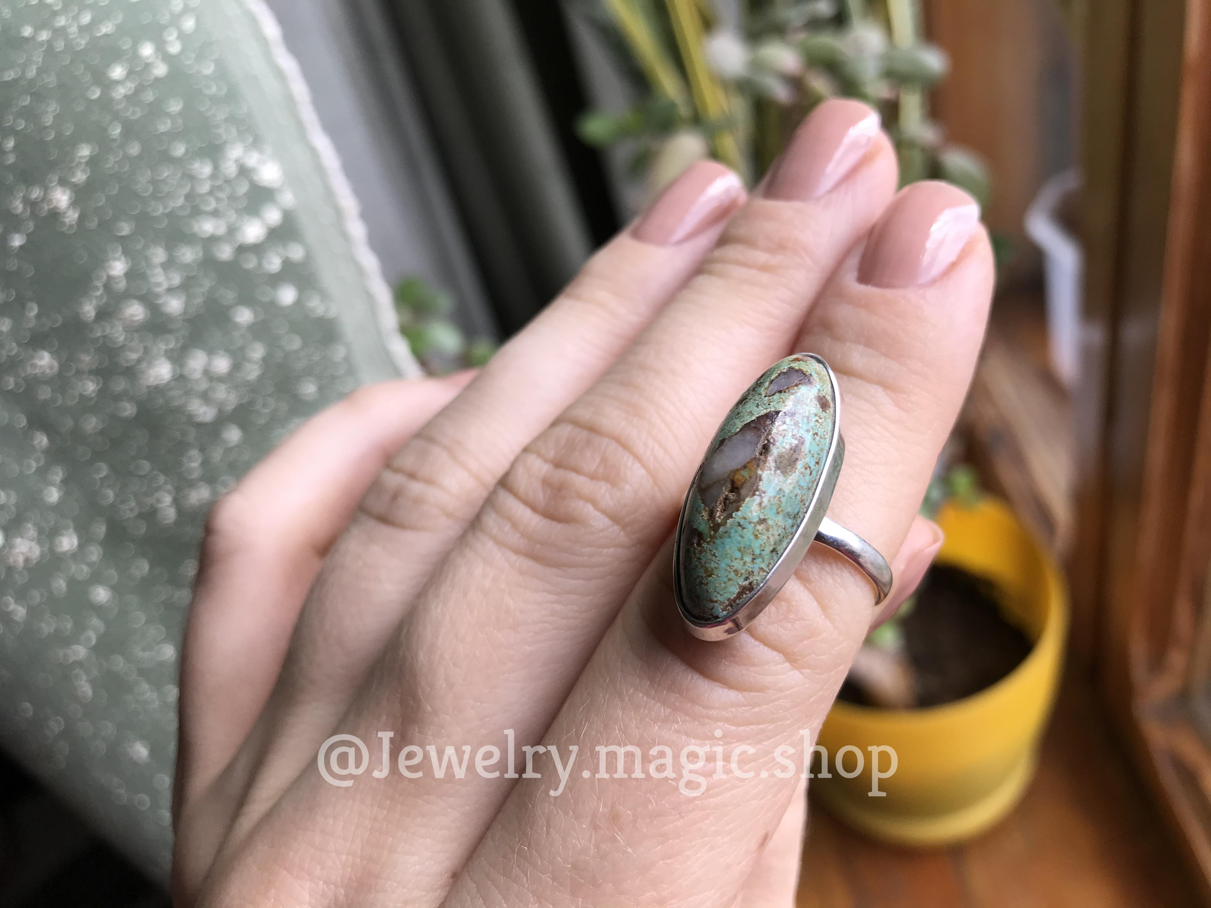 Кольцо с пейзажной Бирюзой